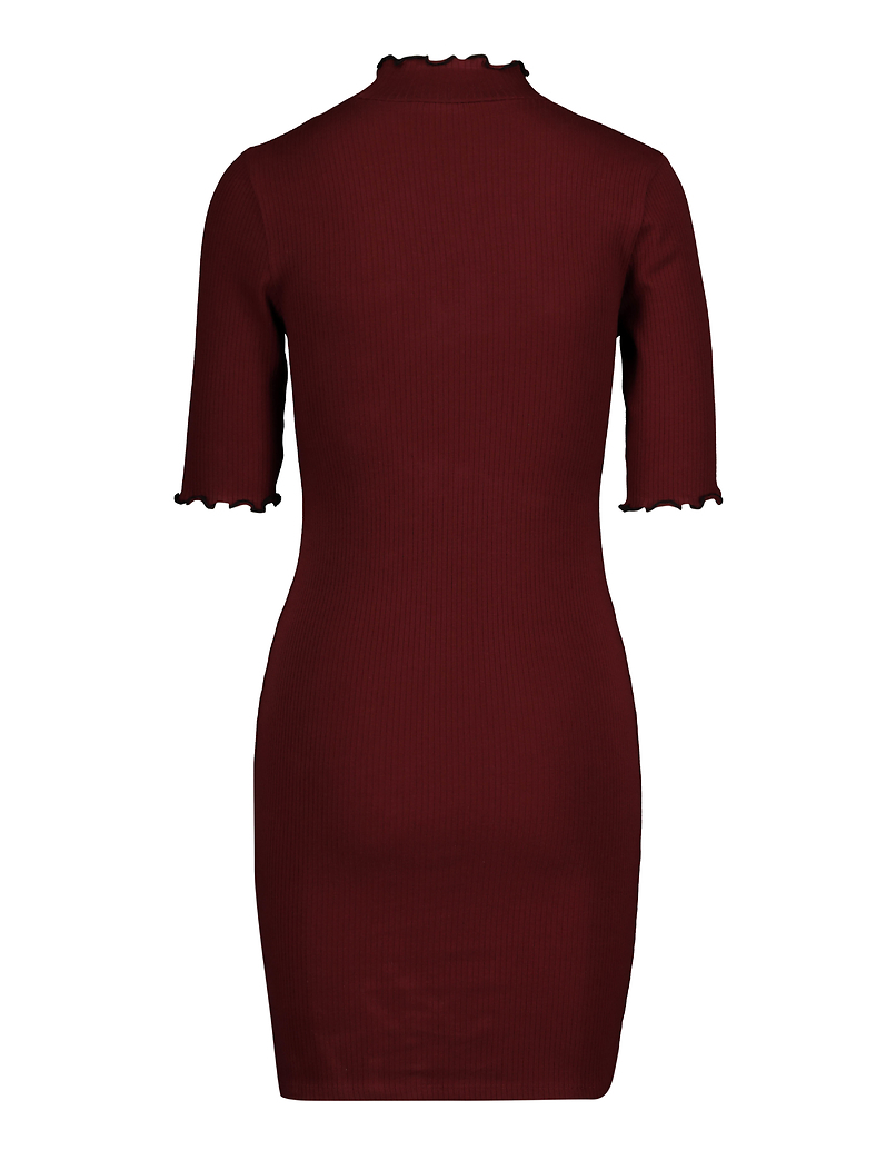 Burgundy Lettuce Hem Dress