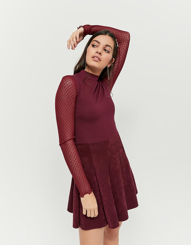 Burgundowa zamszowa sukienka