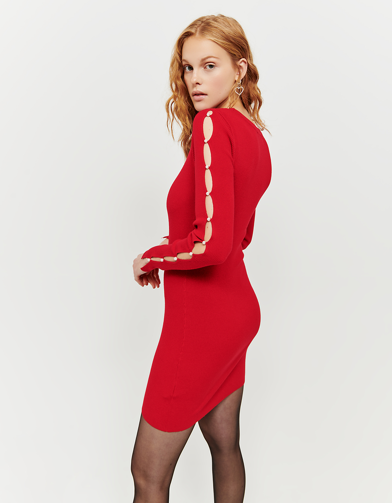 Red Knitted Dress with Pearls