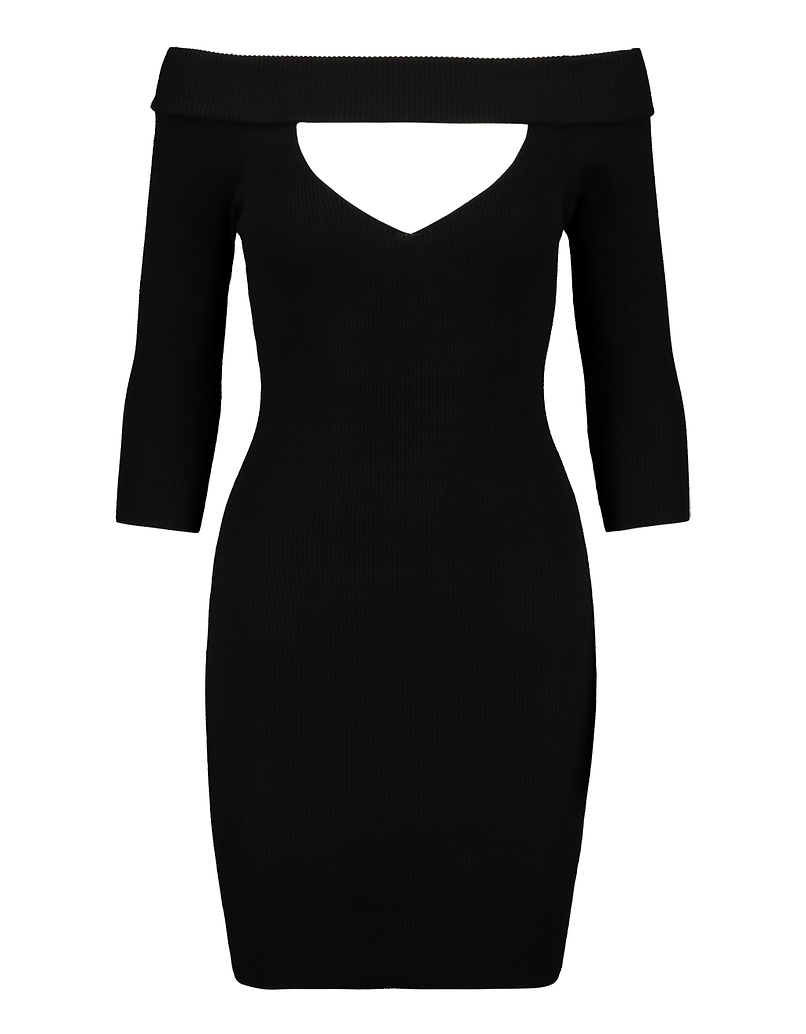 Black Knitted Dress with Cut Out