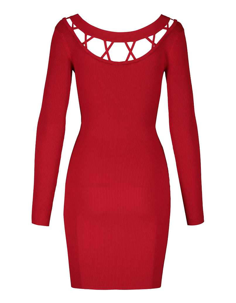 Red Bodycon Knit Dress