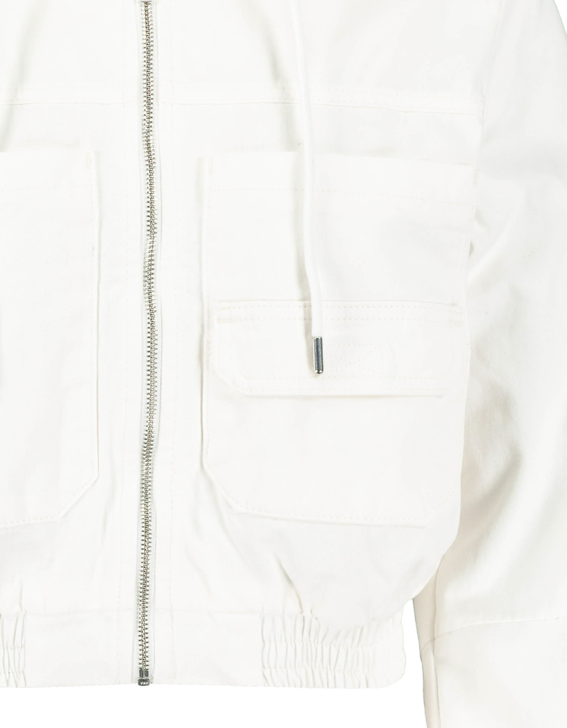 White Cropped Jacket with Hood