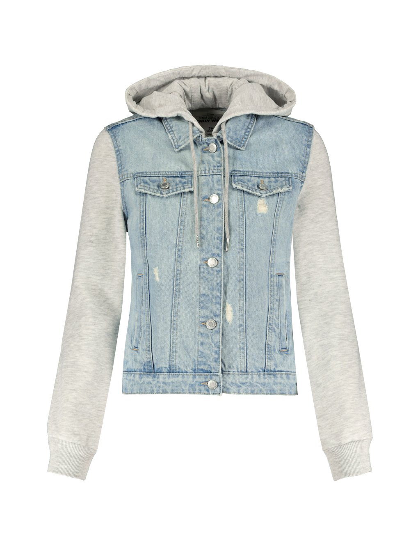 Denim Jacket with Sweater Hood