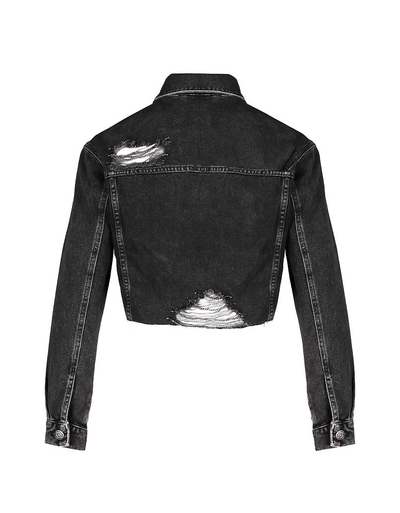 Black Cropped Denim Jacket with Fringes