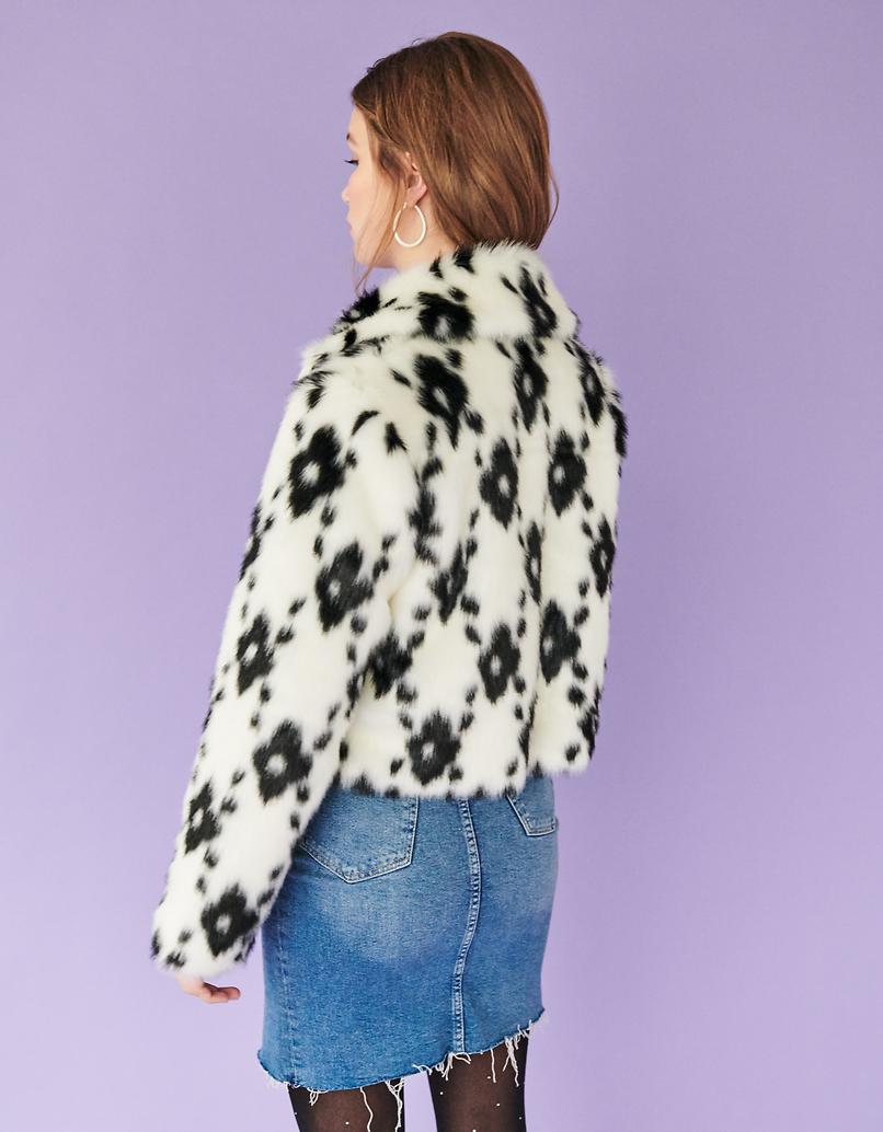 Cow Print Faux Fur Jacket