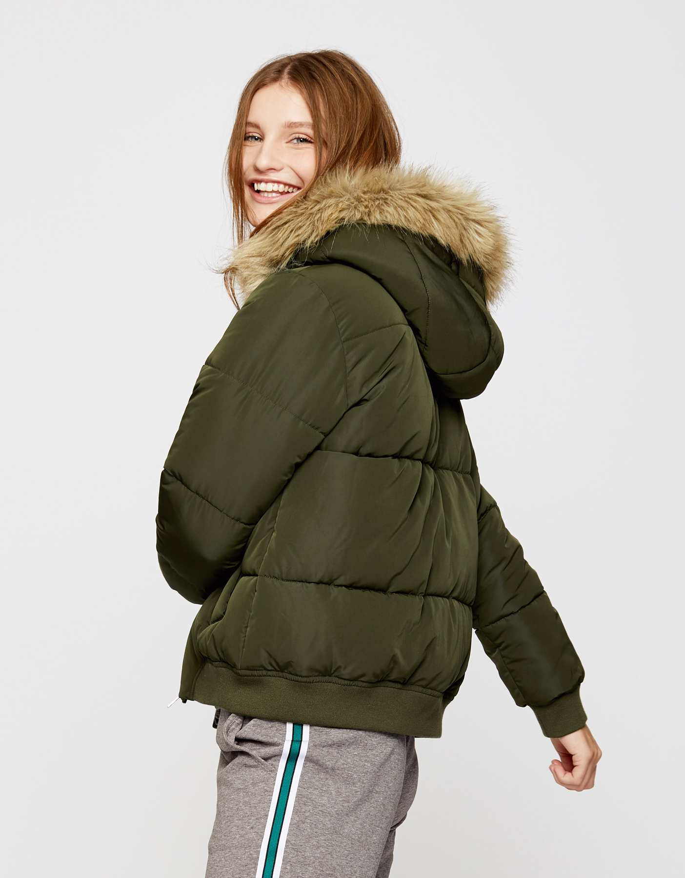 Khaki Puffer Jacket with Hood