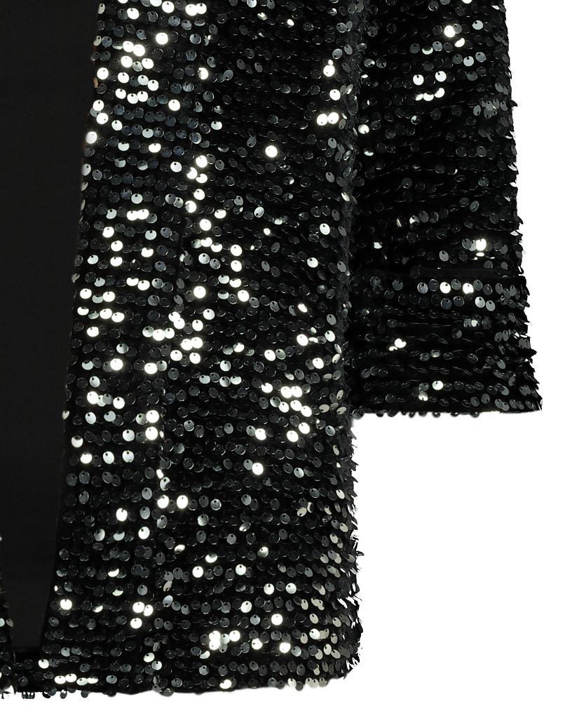Silberner Blazer mit Stoffverzierung