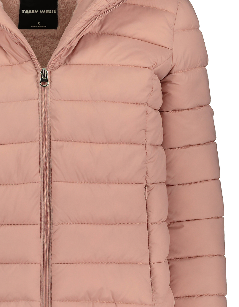 Pink Puffer Jacket with Faux Fur Lining