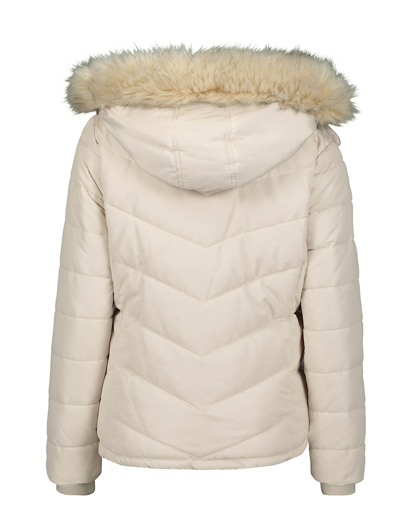 Beige Puffer Jacket with Faux Fur Trim