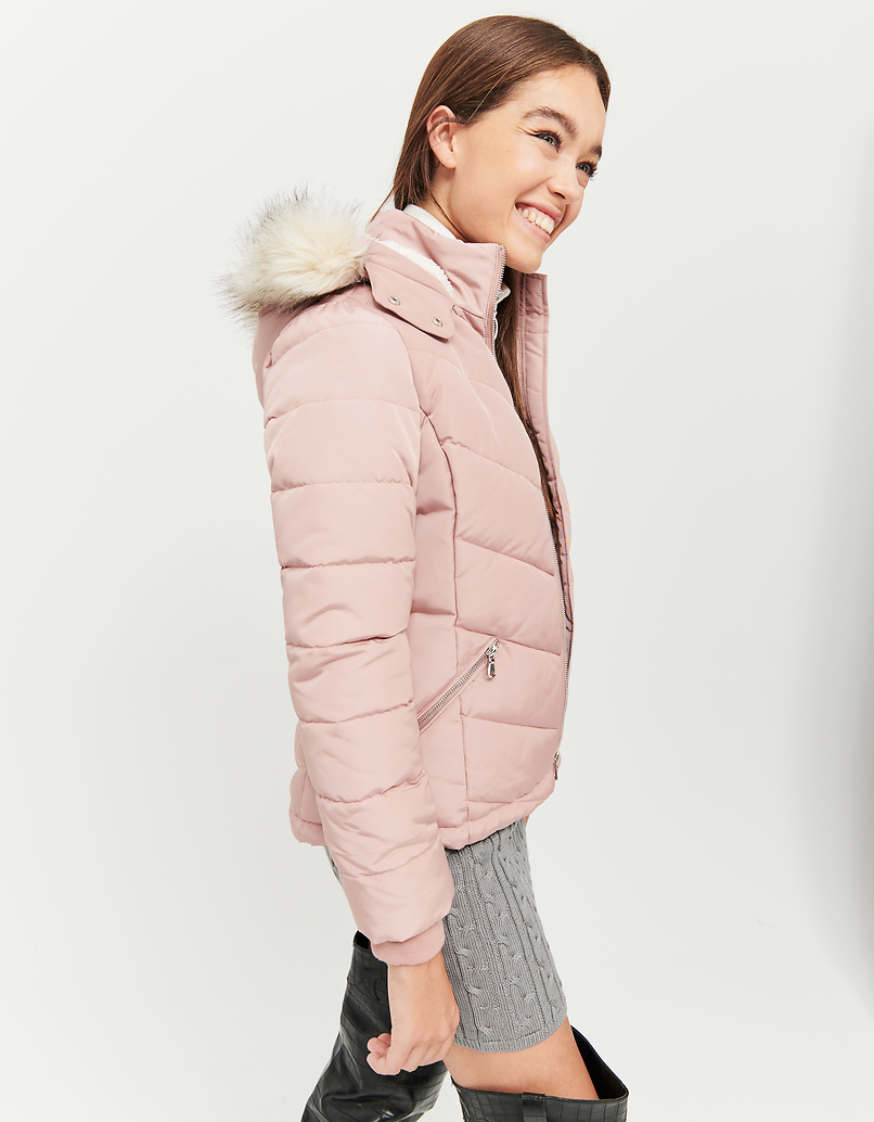 Pink Puffer Jacket with Faux Fur Trim