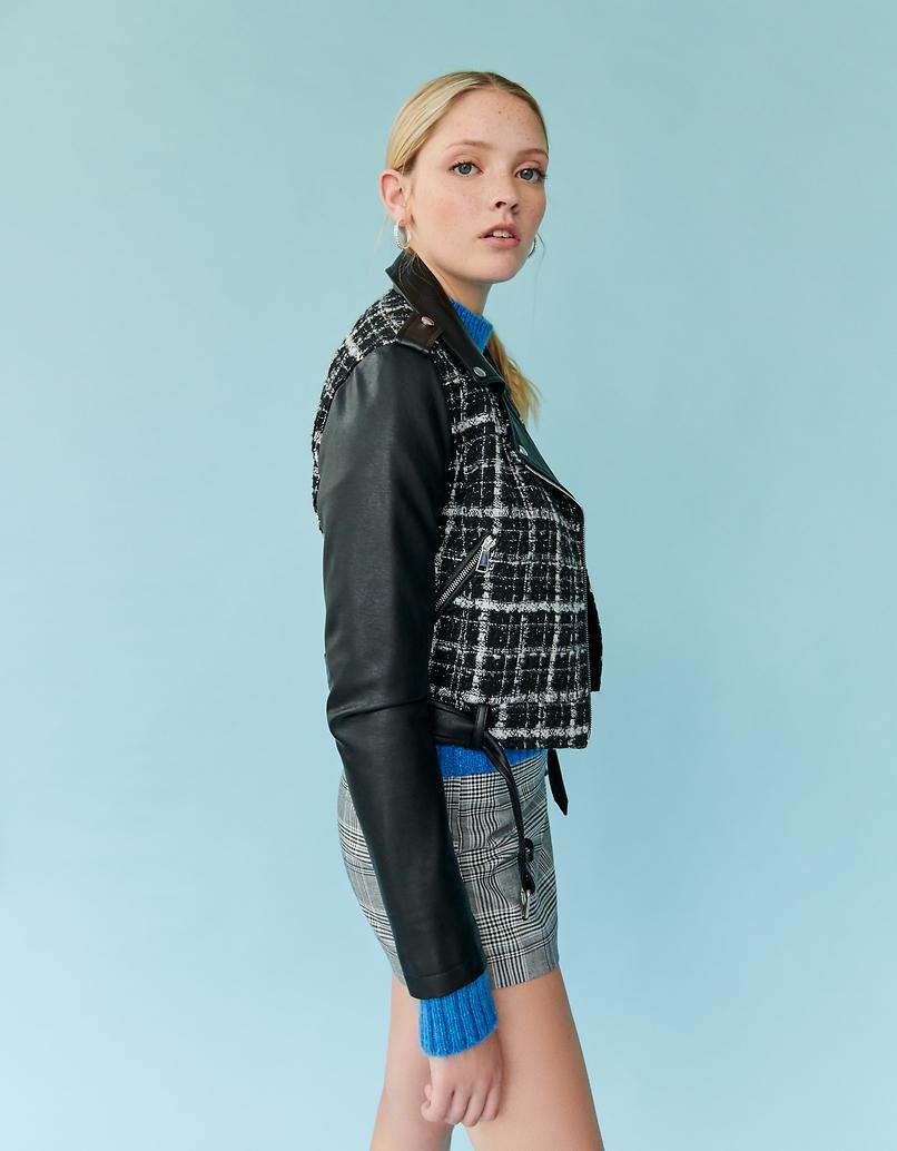 Tweed Biker Jacket with Faux Leather Trim