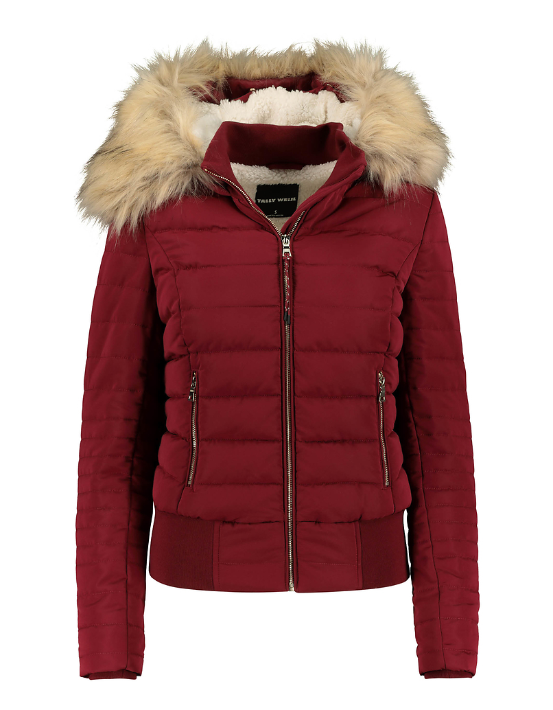 Burgundy Puffer Jacket with Removable Fux Fur