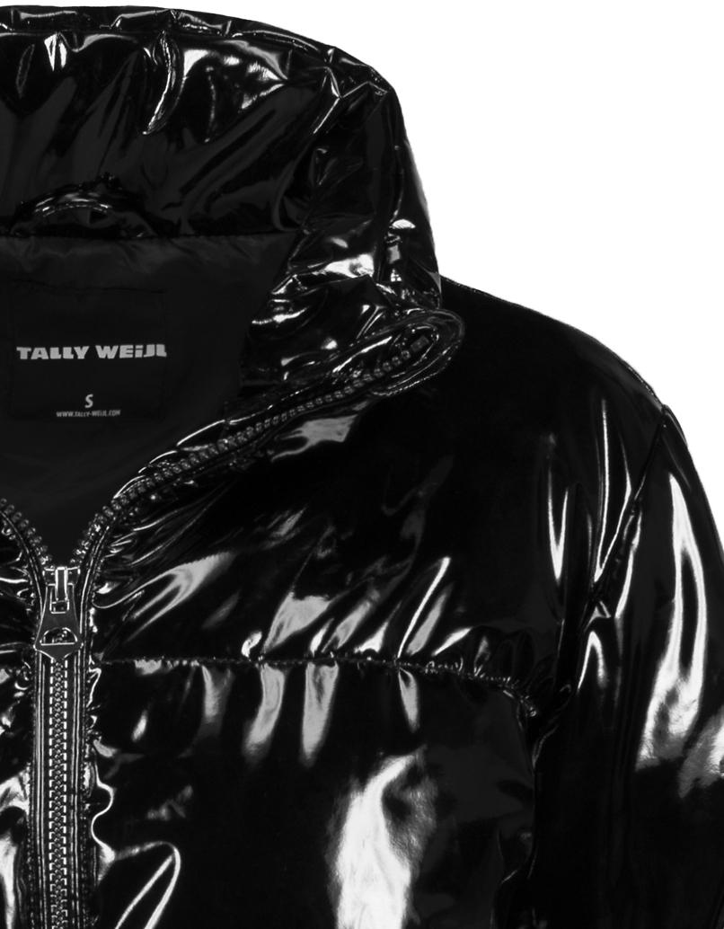 Schwarze Daunenjacke aus Vinyl