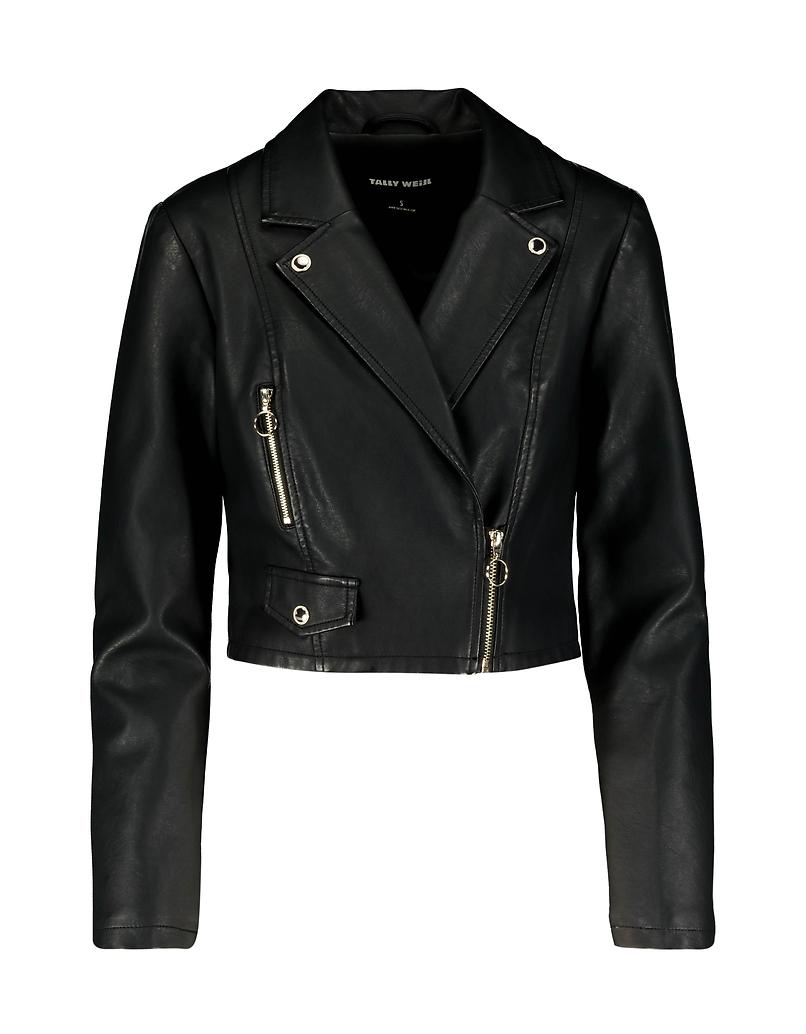 Cropped Black Biker Jacket