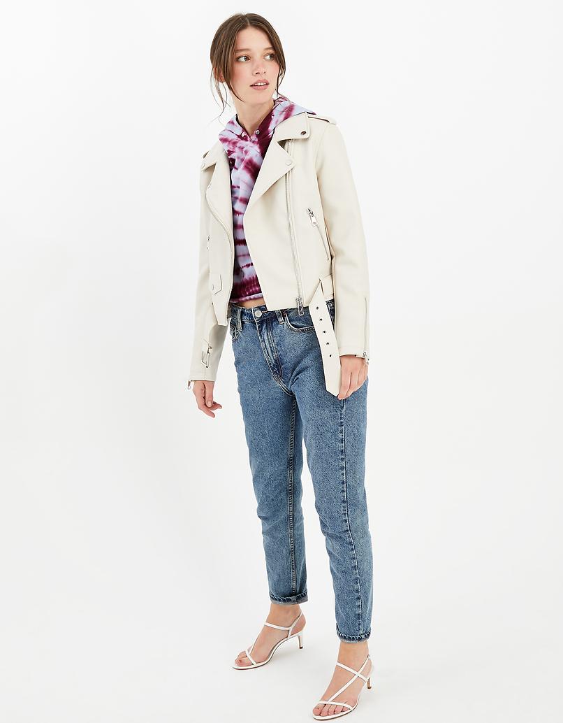 White Faux Leather Biker Jacket