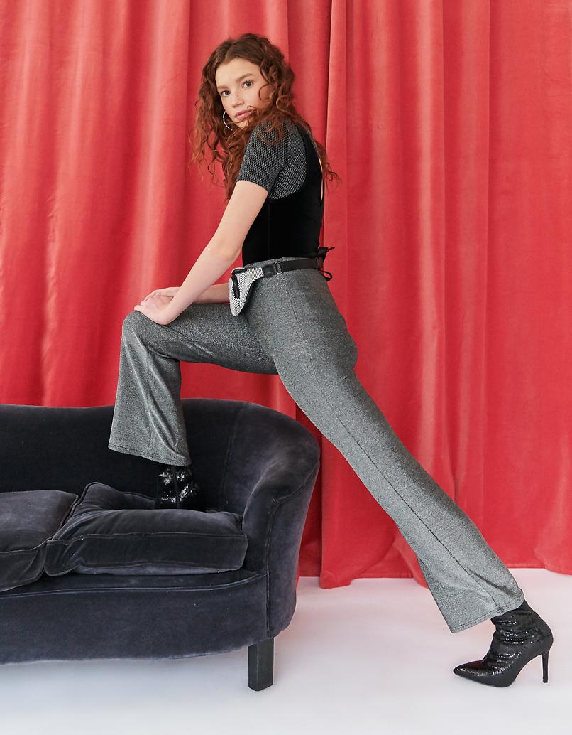 Silvery Lurex Flare Leggings
