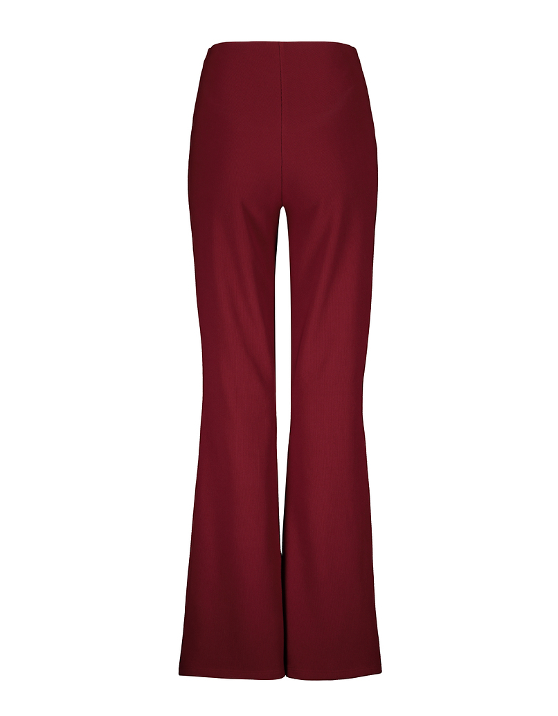 Burgundy Ribbed Flare Leggings