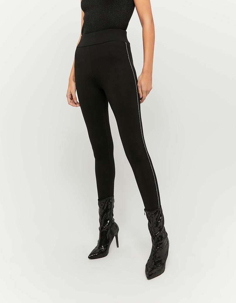Leggings with Thin Rhinestones Side Stripes