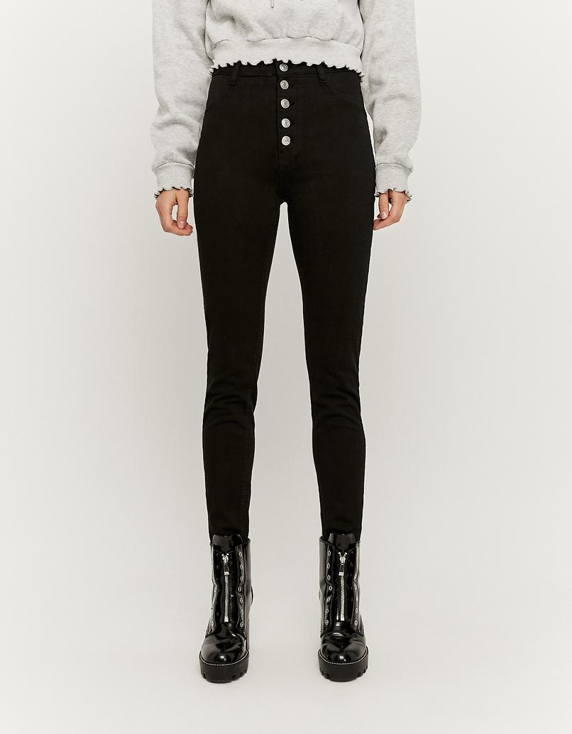 High Waist Skinny Hosen mit Knopfleiste vorne