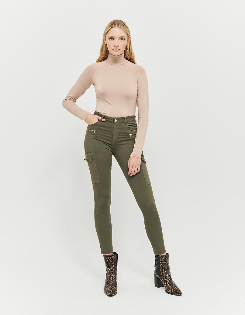 Khaki Medium Waist Skinny Cargohose