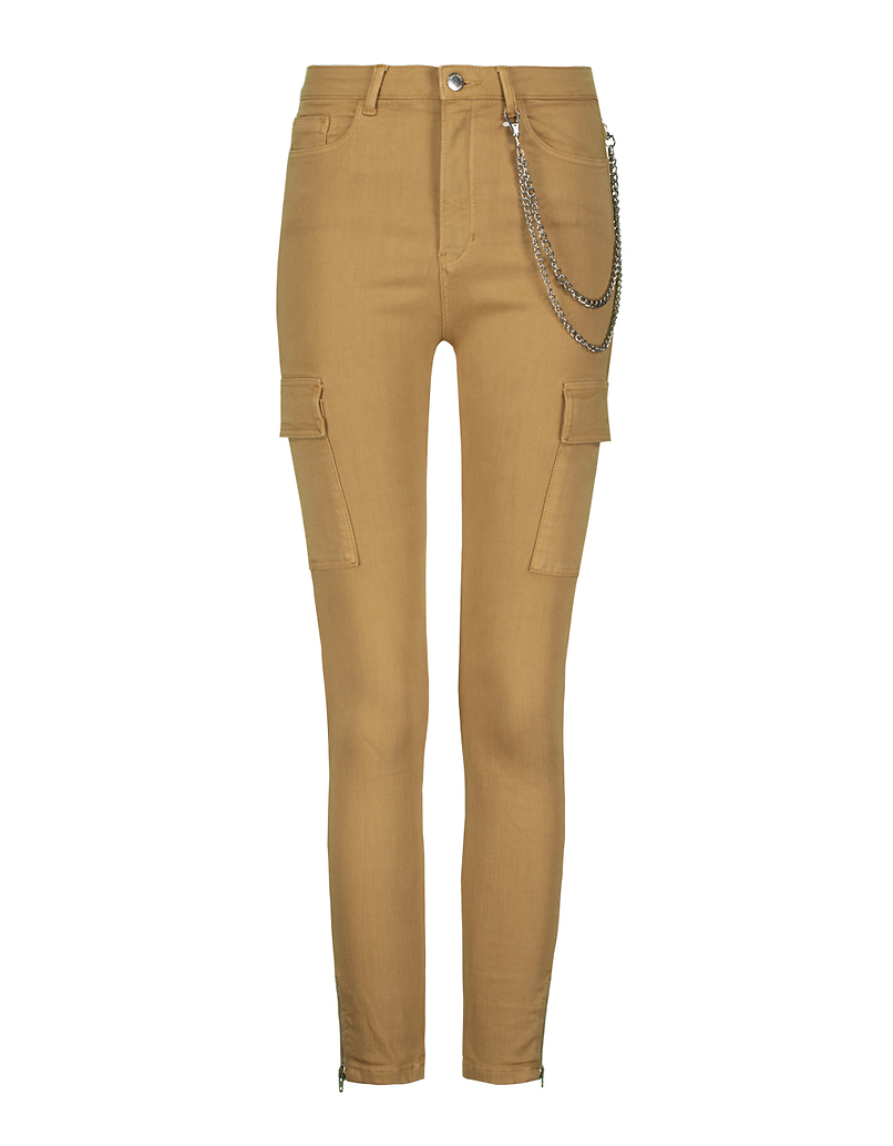 Beige Skinny Cargo Pants with Chain Detail