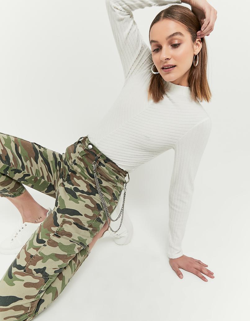 Spodnie Skinny Cargo moro z łańcuszkiem