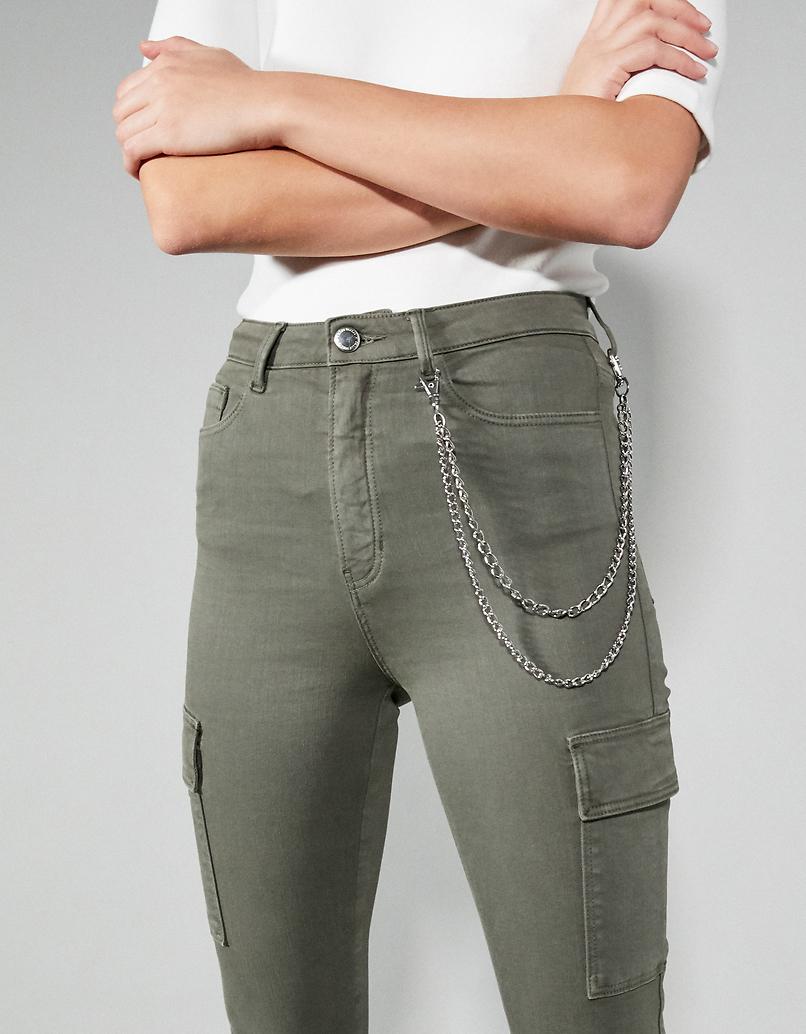Khaki Skinny Cargo Pants with Chain Detail