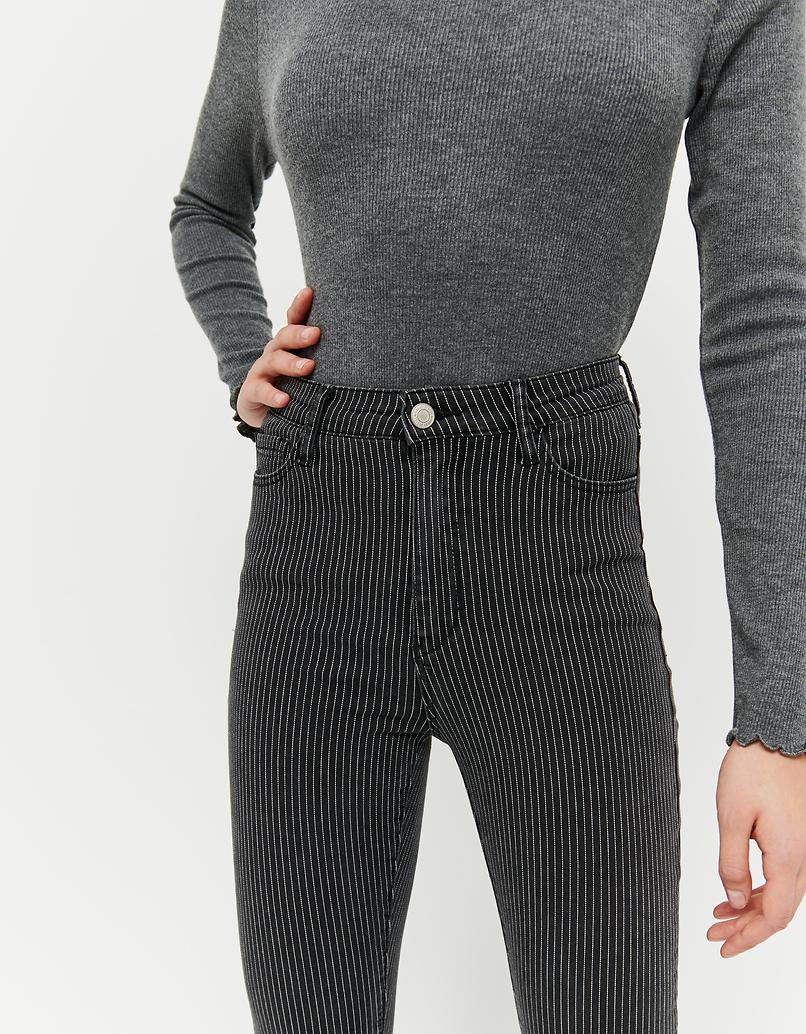 Black Striped Skinny Trousers