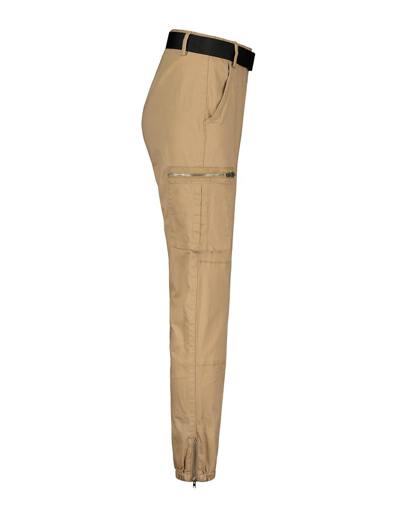 Beige Belted Cargo Pants