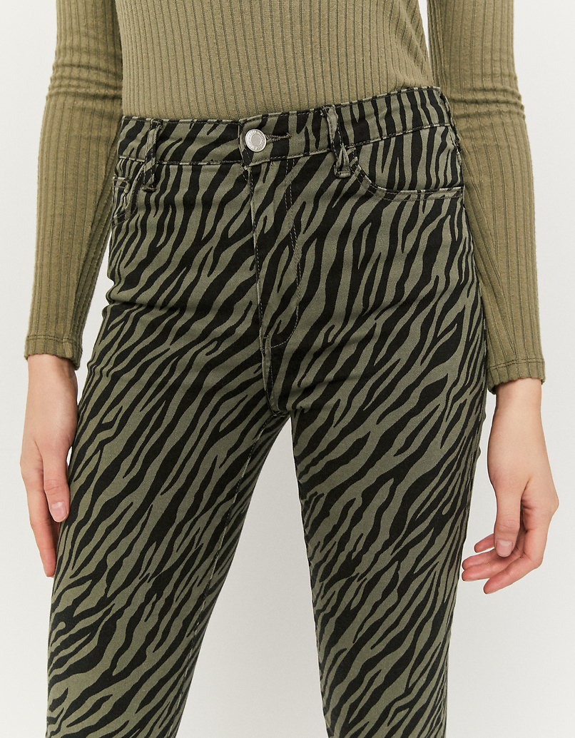 High Waist Zebra Print Skinny Pants