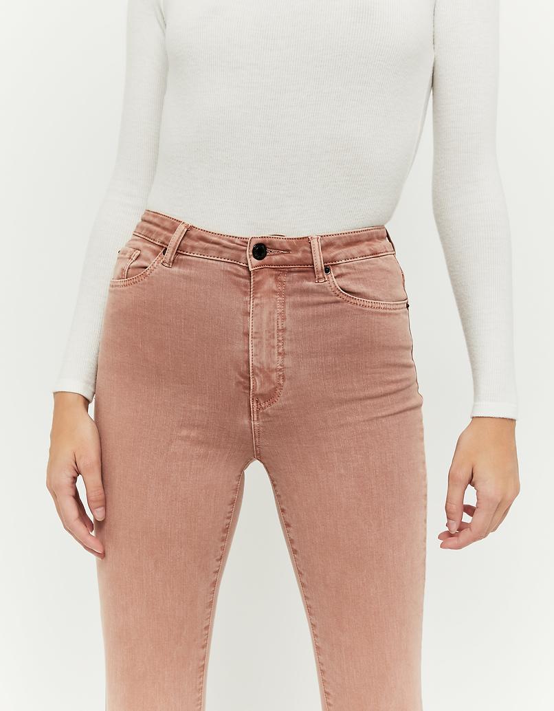 Pantalon Skinny Taille Haute Rose