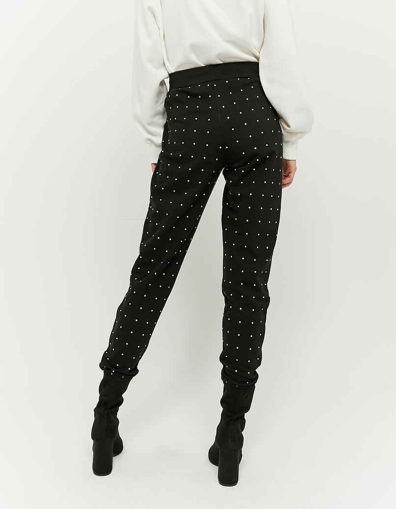 Black Jogger Pants with Rhinestones