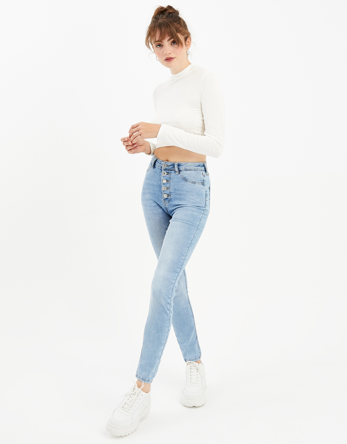 High Waist Button Front Skinny Jeans