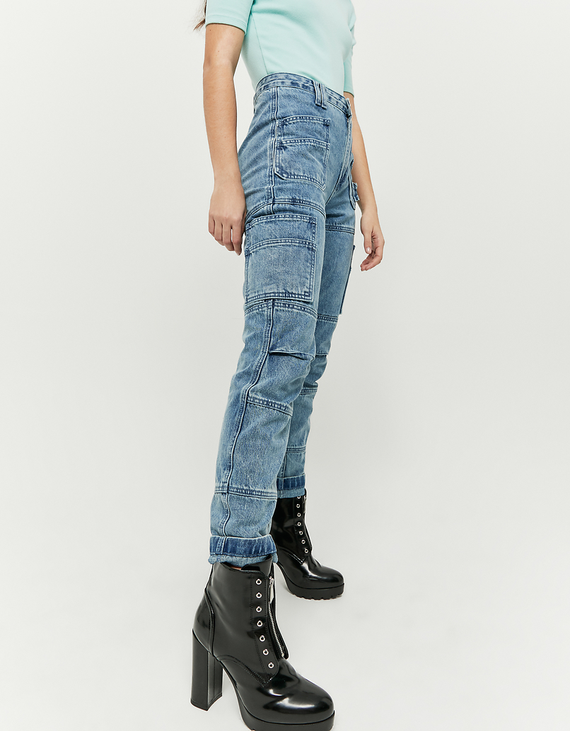 High Waist Denim Cargo Pants