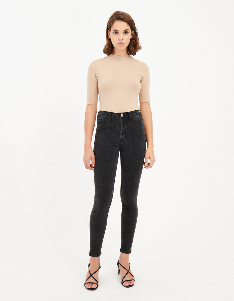 High Waist Skinny Jeans mit Schlangen-Muster