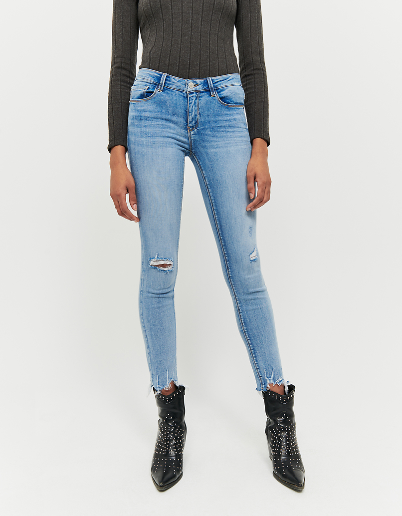 Low Waist Destroyed Skinny Jeans