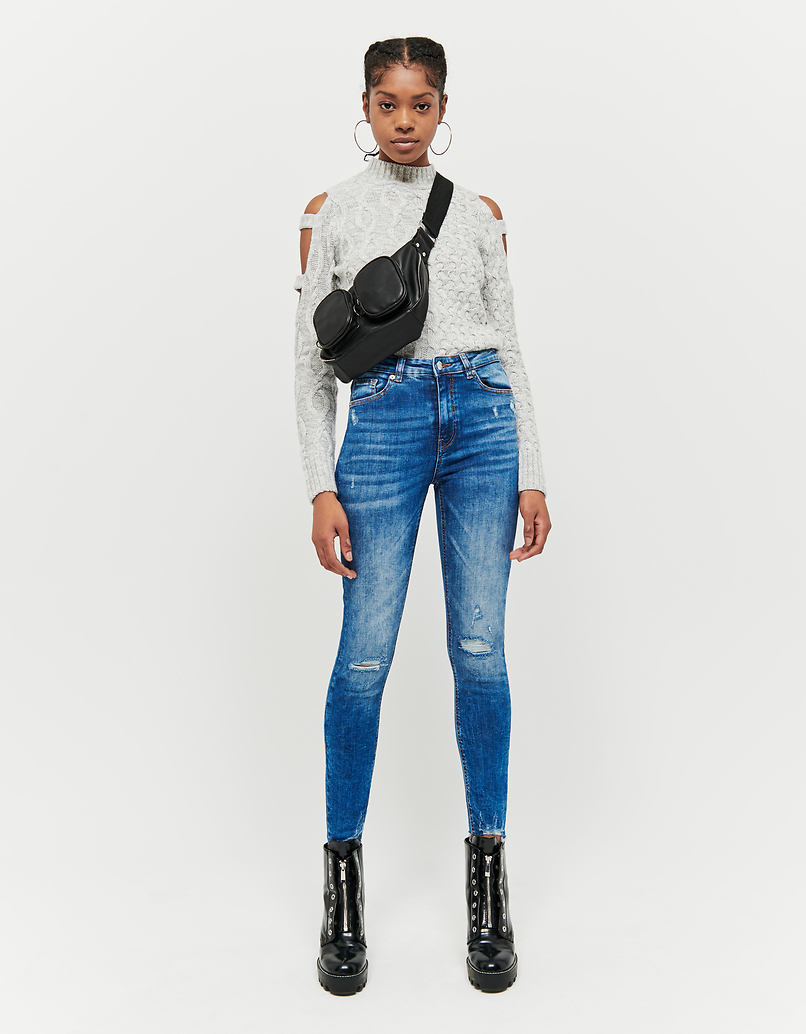 Jeans Cropped Skinny a Vita Alta