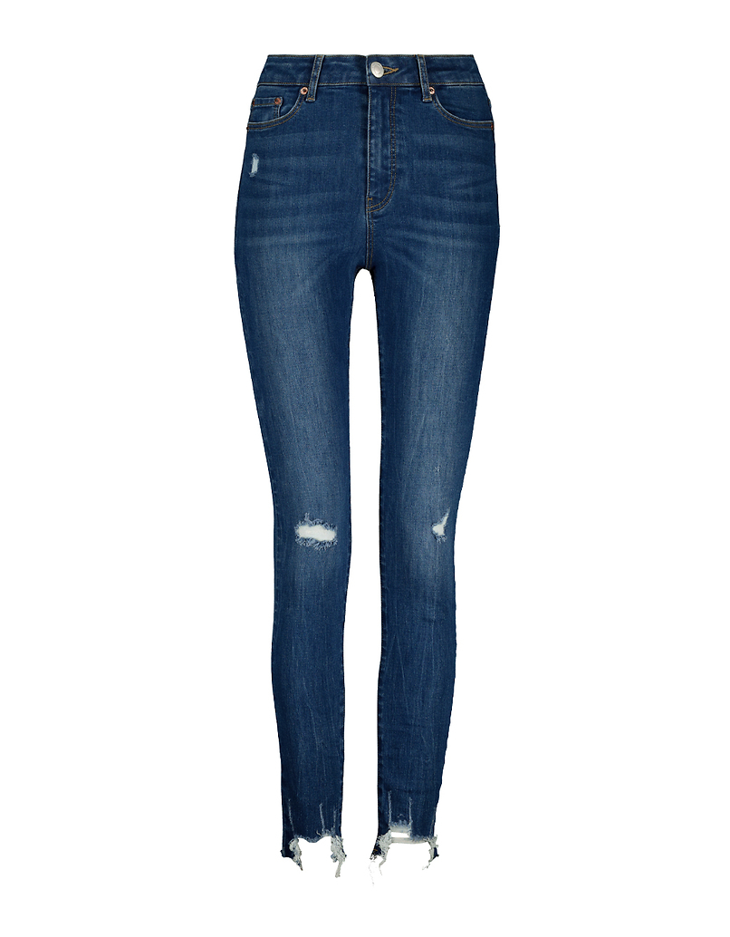 High Waist Skinny Destroyed Jeans