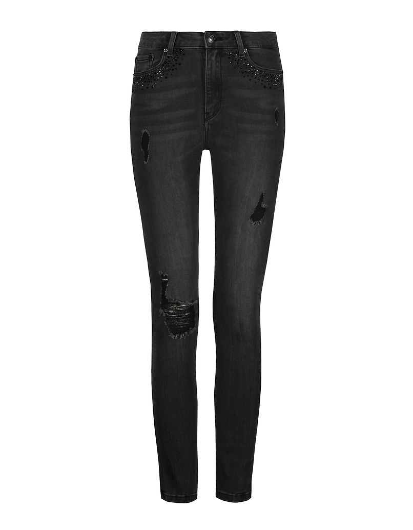 High Waist Skinny Destroyed Jeans with Strass