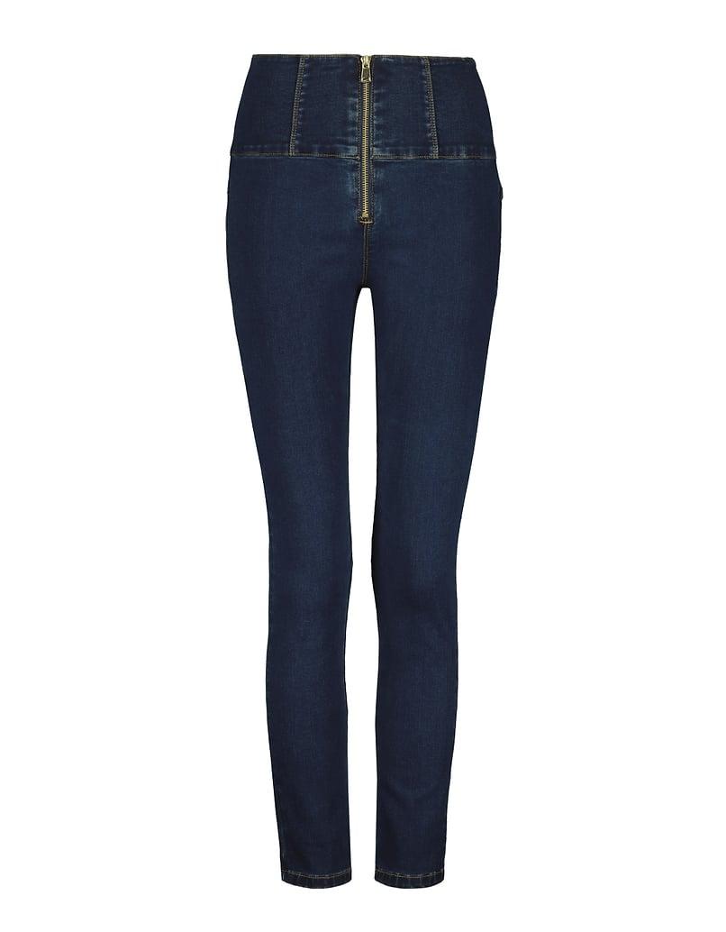 Very High Waist Zipped Skinny Jeans