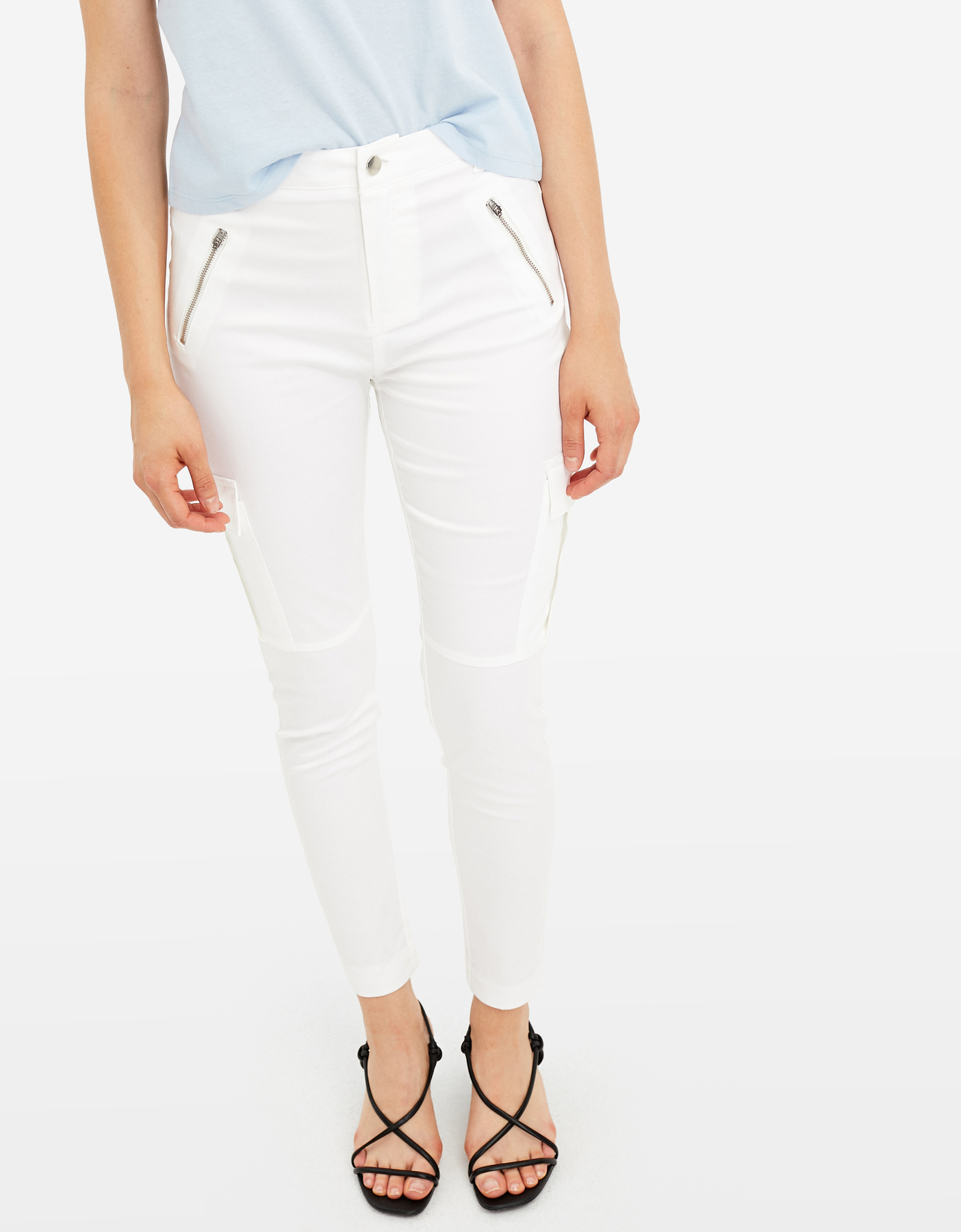 White Skinny Cargo Trousers