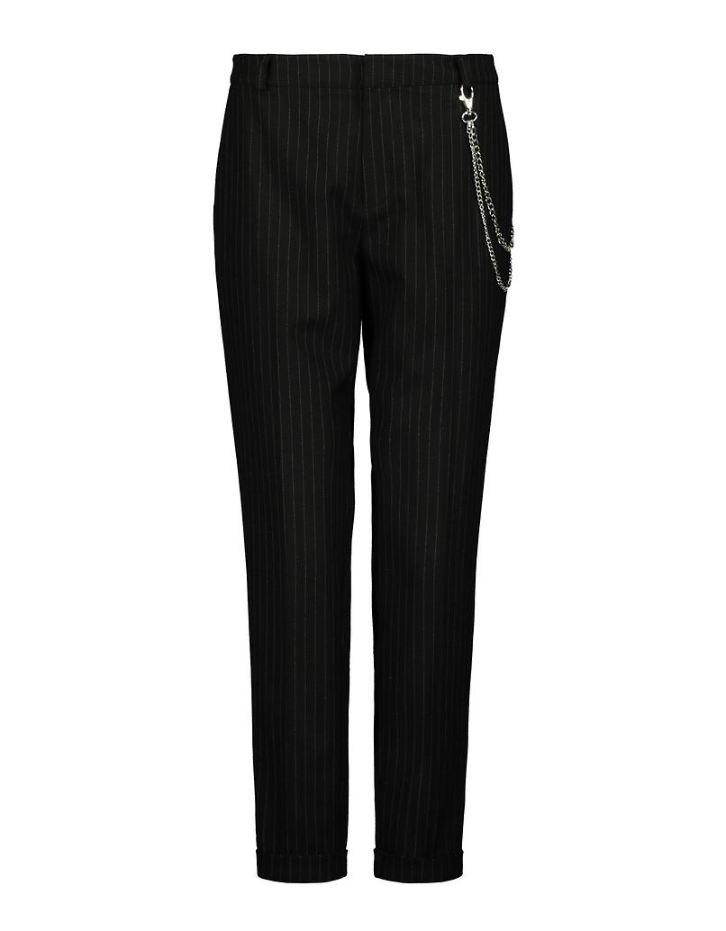 Pinstripe Chain Detail Chino Trousers