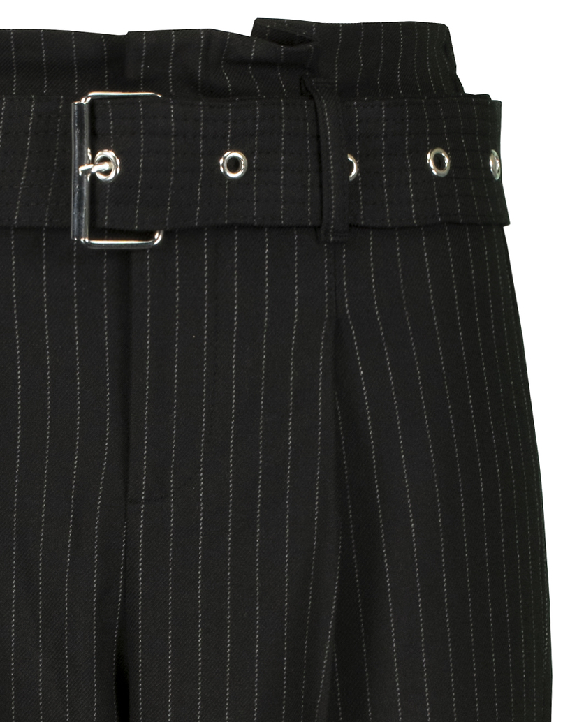 Czarna spodnie Paperbag w prążki