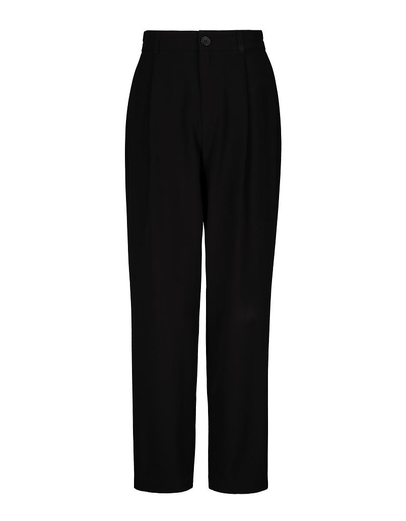 Pantalon Fuselé Détail Plissé Noir
