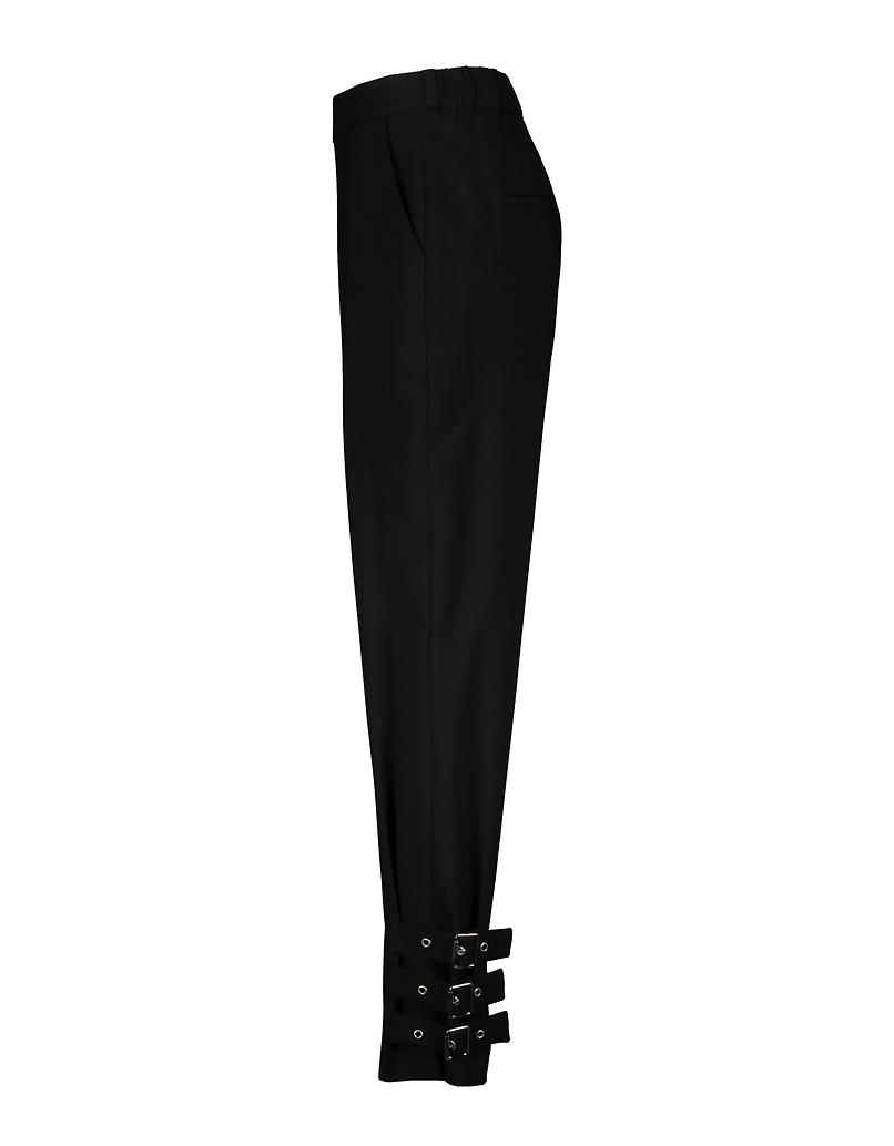 Black High Waist Pants with Buckles