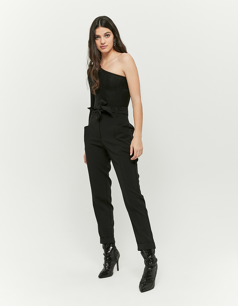 Black Tapered Trousers with Belt