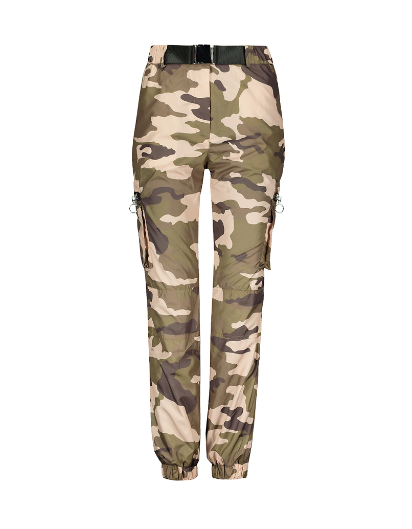 Pantaloni Cargo Camouflage con Cintura