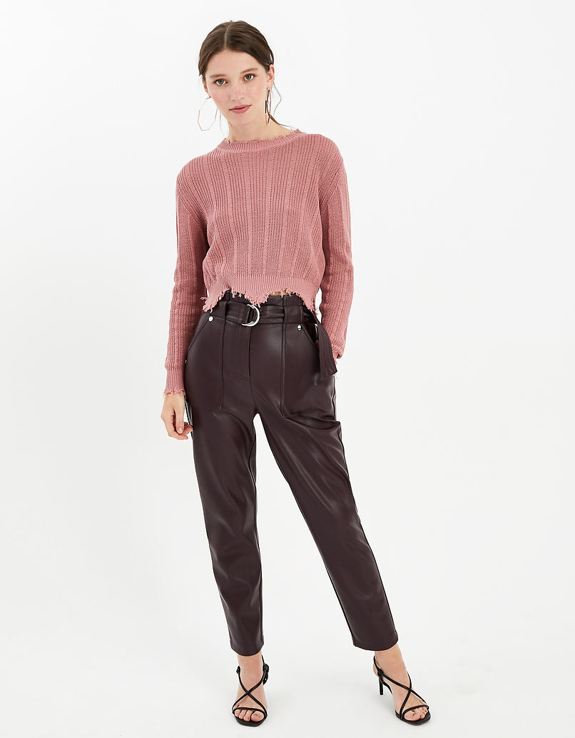 Burgundy Faux Leather Paperbag Trousers