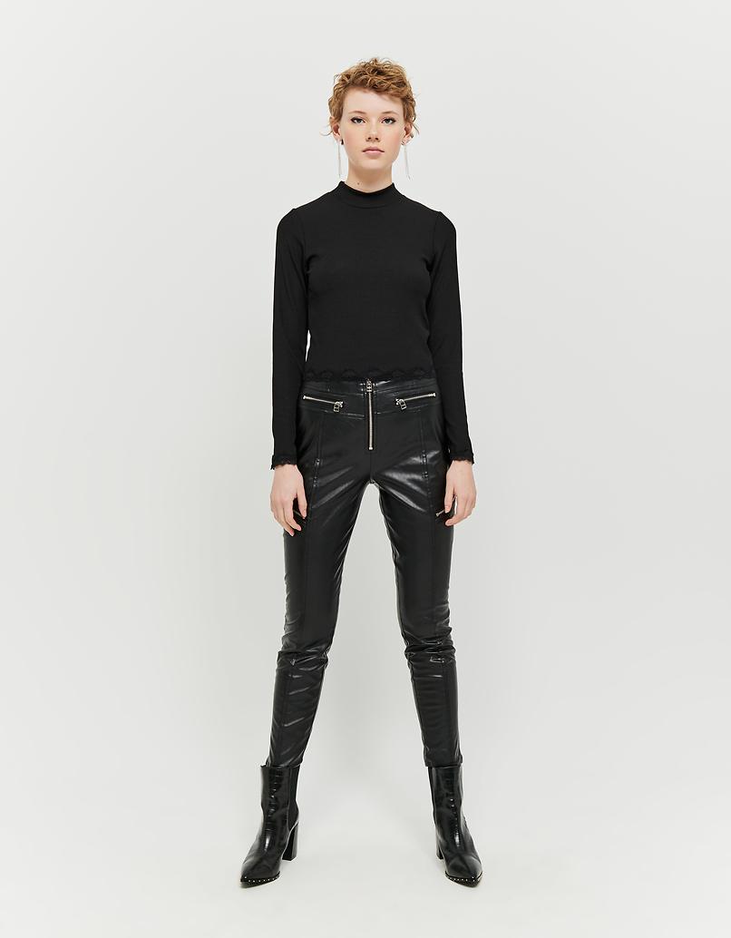Pantalon Skinny Similicuir Détail Zip