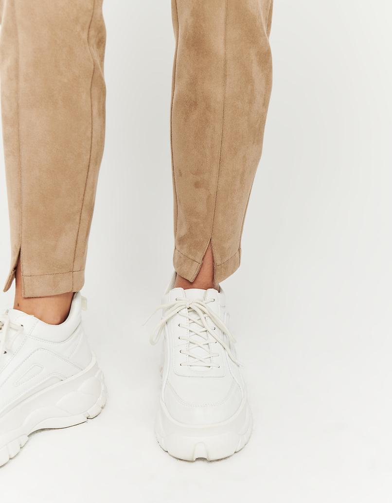 Beige Skinny Hose aus Wildlederoptik